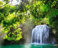 Erawan waterfall, Deep forest Waterfall in Kanchanaburi, Thailand Forest Waterfall, Small Waterfall, Waterfall Wallpaper, Spring Images, Widescreen Wallpaper, Wallpapers, Tropical Beaches, Nature Photos, Paisajes