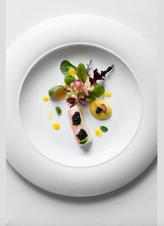 Chef Umberto Bombana's DISH King Crab and Calvisius Elite Caviar, Couscous and Vegetables Salad, Citrus and Fennel Dressing