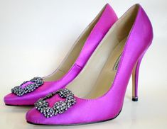 Pink High Heel Shoes by Manolo Blahnik. I love the blue one in sex and the city movie