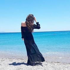 Oh, so blue  ☁ #beach #sea #blue #sky #resort #greece #maxidress #breeze