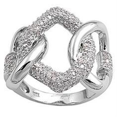 925 Sterling Silver Clear CZ Sideways Wide Chain Design Love Band Ring Size 3-11 #Unbranded #BandRing