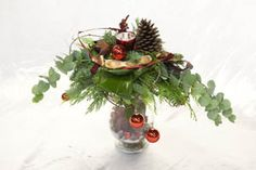 kerst workshops - kerststuk op glazen vaas - christa snoek