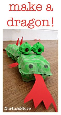 This egg box dragon craft is great for junk model fans, as a St.George's Day craft or a Chinese New Year activity. How to make an egg box dragon You will need: :: 3 egg boxes ::green paint & a paint brush, :: red paper :: 2 treasury tags :: glue / … Chinese New Year Crafts For Kids, Chinese New Year Dragon, Chinese New Year Activities, New Years Activities, Craft Activities, Art For Kids, Japanese Dragon, Make A Dragon, Dragon Kid