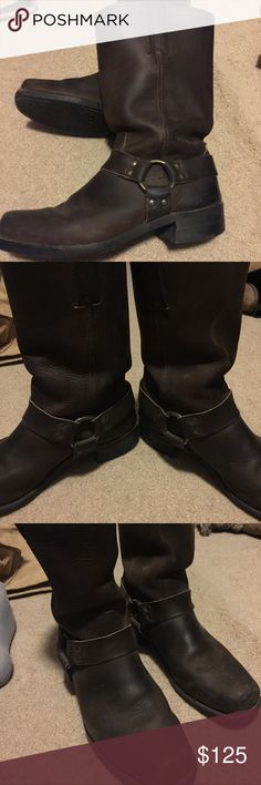 Men's FRYE brown leather boots size 10 1/2 Just like new worn only once, Men's brown leaner boots with buckle detail and slip on stirrups . Size 10 1/2 square toe, medium width. Frye Shoes Boots