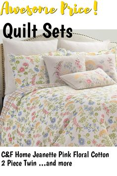 CandF Home Jeanette Pink Floral Cotton 2 Piece Twin Machine Washable Reversible Quilt Set Twin Green ... (This is an affiliate link) #quiltsets Quilt Sets, Twins, Quilts, Floral, Green, Cotton, Florals, Quilt, Log Cabin Quilts