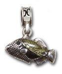 Hickam AFB - .925 sterling silver Hawaiian trigger fish accented with colored enamel.