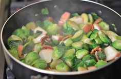 words & whisks: brussels sprouts, apple, cranberry, & pecan skillet