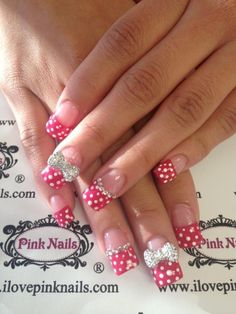 Polka Dot and Diamond Nails