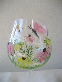 Wildflower wine glass, handpainted, wedding, gift idea.