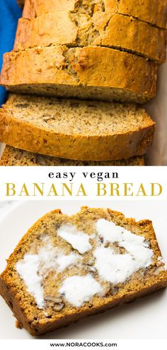 This is the best vegan banana bread ever, and it's easy to make in 1 bowl! This is the best vegan banana bread ever, and it's easy to make in 1 bowl! Best Vegan Banana Bread Recipe, Easy Banana Bread, Banana Bread Recipes, Vegan Baking Recipes, Vegan Dessert Recipes, Vegan Breakfast Recipes, Brunch Recipes, Easy Recipes, Vegetarian Recipes