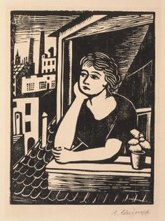 Georg Schrimpf (German, 1889–1938)  Girl Looking Out an Attic Window; From the deluxe periodical The Creators, vol. 7, no. 2, published ca. 1924, 1923  Woodcut  block: 8 1/4 x 6 1/8 in. (20.96 x 15.56 cm) sheet: 15 1/8 x 11 13/16 in. (38.42 x 30 cm) mat: 22 x 18 in. (55.88 x 45.72 cm)  Marcia and Granvil Specks Collection M2000.545   Photo credit Michael Tropea