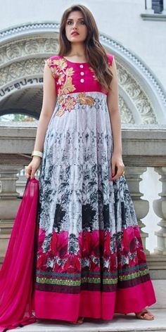 Wonderful Pink And Grey Cotton Anarkali Suit.