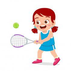 Happy cute kid girl play train tennis   Premium Vector #Freepik #vector #school #people #kids #sports Abc For Kids, 4 Kids, Kids Girls, Cute Kids, Children, Video Game Logos, Competition Games, Aesthetic Fonts, Dibujos Cute