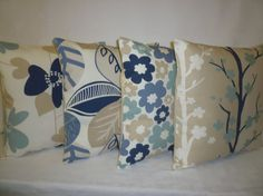 5 x Pillows Blue Navy Beige Taupe Designer Cushion by WickedWalls, $72.00