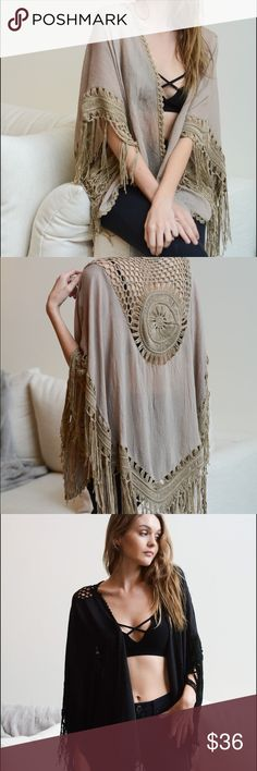 Crochet Medallion Tassel Kimono Crochet Medallion tassel kimono with arm homes 💯 % cotton. Tops Tunics