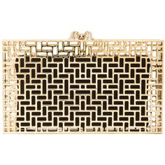 Charlotte Olympia Lattice Pandora Clutch ($824) ❤ liked on Polyvore featuring bags, handbags, clutches, bolsas, purses, brown purse, charlotte olympia, charlotte olympia clutches, brown handbags and charlotte olympia purse
