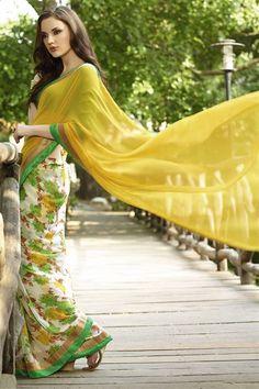 Half-Half Stylish Yellow, White Georgette Floral Print Saree