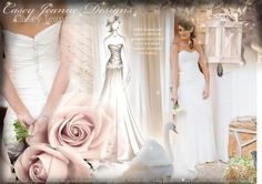 Lindie's wedding dress moodboard of the final dress and sketch <3 http://www.facebook.com/pages/Casey-Jeanne/173085056043026