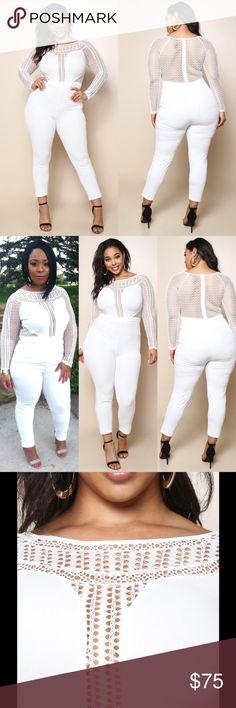 """💕HOST PICK💕 Jumpsuit Worn once for photos   jumpsuit with an open knit fabric that hugs your arms and bodice. boat neckline long sleeves zip-up back & solid panels for sultry effect. Made w/ natural waist and figure-hugging pants - 95%polyester 5%spandex  - Model is wearing size 1X  - Model is 5'10"""" / Bust: 36"""" / Waist: 34"""" / Hip: 48"""" 🔹Size recommendations: Junior Plus  👉🏼 1X 12/14  🔹  👉🏼2X 16/18  🔹  👉🏼3X 20/22🔹 Boutique Pants Jumpsuits & Rompers"""