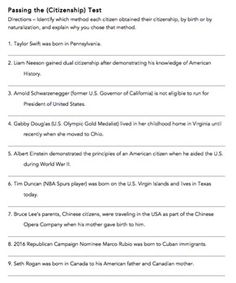 Sample USA Citizenship Test Worksheets | Citizenship and 100 questions