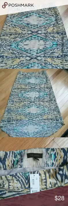 """NWT The Limited hi-low tribal  maxi skirt, M NWT,  yellow, gray, tan, green & pink tribal hi-low maxi skirt. Medium.  Side zip. Lining 100% polyester,  shell 100% polyester. Front is 26"""" long & back is 35.5"""" long. The Limited Skirts High Low"""