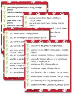Printable Christmas Changing Places - Funsational.com