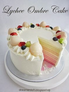 Lychee ombre cake #lychee essence #milk #cake flour