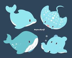 A dolphin, manta, blue whale and a flapjack Cute Animal Drawings, Kawaii Drawings, Cute Drawings, Dolphin Drawing, Dolphin Art, Cute Shark, Cute Whales, Chibi, Kawaii Doodles