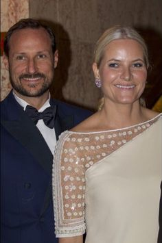 Love the sleeve detailing in her one-shoulder gown! --> Crown Prince Haakon and Crown Princess Mette-Marit of Norway