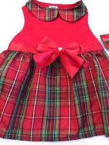 Dog Dress Size M Pet Clothes Apparel  Red Black Green Plaid Red Ribbon Bow    eBay