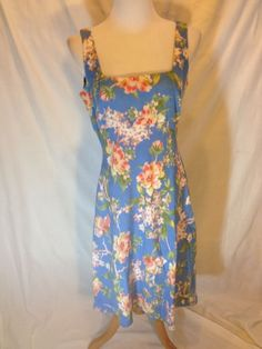 TALBOTS PETITE size 10 Sleeveless Blue Floral Print Tencel Linen Dress NWT #Talbots #Shift #Casual