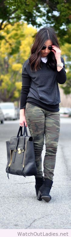 The Search for the Perfect Camo Stateside thermal hoodie, Lucky Brand camo jeans, Vince Camuto Hadley booties, Phillip Lim satchel Fashion Trend by Crstalin Marie Winter Looks, Fall Winter Outfits, Autumn Winter Fashion, I Love Fashion, Womens Fashion, Fashion Trends, Camo Fashion, Casual Outfits, Cute Outfits