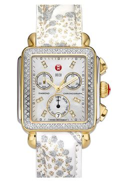 MICHELE 'Deco Diamond Day' Two Tone Watch Case... want this strap for mine!!! Looks so good with the two-tone!