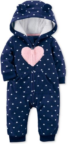 Carter's Hooded Heart-Print Fleece Coverall, Baby Girls (0-24 months)#ad