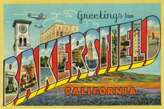 Greetings from Bakersfield, California - Vintage Halftone (18x12 Gallery Quality Metal Art), Multi