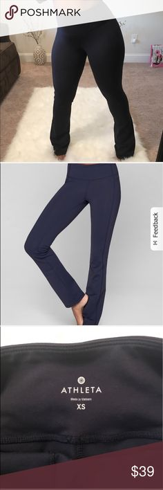 Athleta Mid RIse Yoga Pants Athleta Navy Blue Yoga pants. Mid Rise. Hugs the body for a lean look, sits at the waist, eases up in lower leg. Great Condition!   -See Chart for measurements Legnth 41 - Unpinchable waistband and an  slim fit for the longest, leanest you possible. -INSPIRED FOR: yoga, studio workouts! -UNPINCHABLE WAISTBAND. 3-layer inner mesh construction smooths over your midsection for a no-muffin-top zone -Breathable CoolMax® crotch gusset, internal key pocket Athleta Pants…