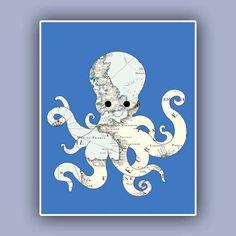 Octopus map art Print  Nautical map Print Marine Wall Decor,  Nautical art, Coastal Decor antique Europe map. $13.50, via Etsy.
