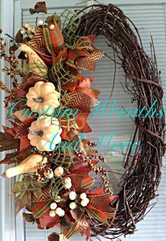 Super cute fall grapevine wreath with autumn colors and pumpkins  on Etsy, $65.00
