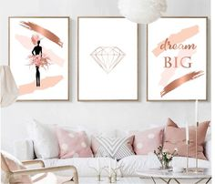 Set of 3 prints Printable wall art set rose gold pink women diamond dream big print digital Prints abstract art Satz von 3 Drucke druckbare Wandkunst set Roségold rosa Frauen Diamant Traum Großdruck Digitaldrucke a Rose Gold Room Decor, Rose Gold Rooms, Gold Bedroom Decor, White Bedroom Furniture, Bedroom Wall, Living Room Decor, Rose Gold Pink, Rose Gold Wall Art, Pink Wall Art
