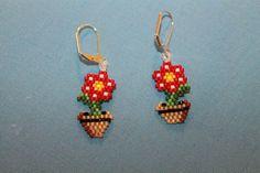 Nintendo-style flowerpot earrings.