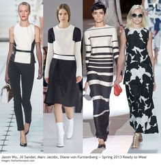 Spring 2013 is a study in contrasts: while bright color and soft pastels are trending, so too are graphic black and white combinations.