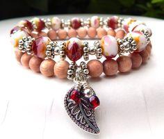 Nature Bracelet Picasso Czech Bracelet Raspberry by BlueStoneRiver