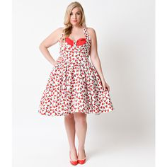 Iconic by Uv Plus Size White & Red Cherry Tierney Halter Swing Dress ($74) ❤ liked on Polyvore featuring dresses, white, plus size white cocktail dress, white halter dress, vintage white dress, plus size red cocktail dress and plus size dresses