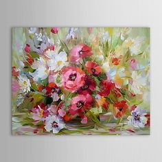 Hand-Painted+Floral/Botanical+One+Panel+Canvas+Oil+Painting+For+Home+Decoration+–+USD+$+75.99