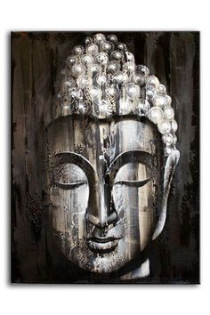 Wooden Effect Silver Buddha Oil Painting on Canvas Bali Original Art 80x60cm