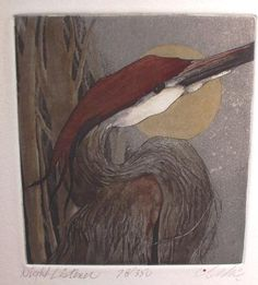 Night Listener by Beki Killorin, hand-colored etching
