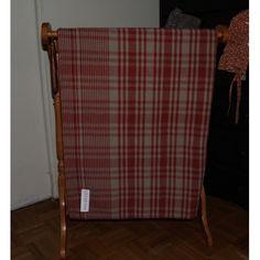 Early American grid #5 homespun blanket in red on dark linen