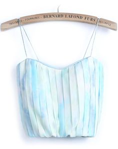 Blue Spaghetti Strap Zipper Pleated Vest - Sheinside.com