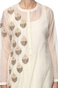 Embroidery Suits Punjabi, Embroidery On Kurtis, Kurti Embroidery Design, Hand Work Embroidery, Couture Embroidery, Embroidery Fashion, Embroidery Ideas, Machine Embroidery, Zardozi Embroidery