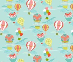 Up, Up & away by Kayajoy on Spoonflower -- what a gorgeous fabric for a child's room!